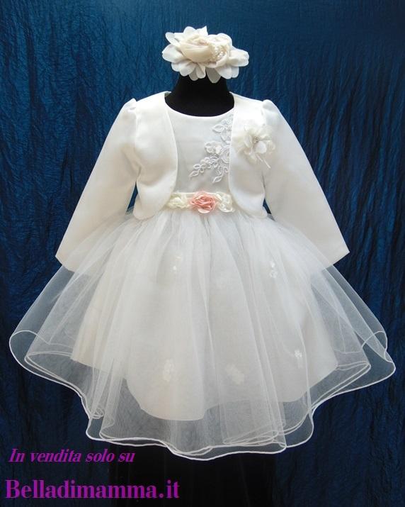 Vestito Battesimo Bimba con bolero e fascia  215A264    listino del ... bea26b1043b0