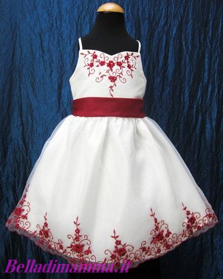Abito damigella bambina bianco e rosso
