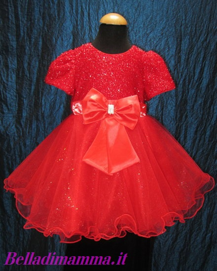 Vestito bimba cerimonia rosso